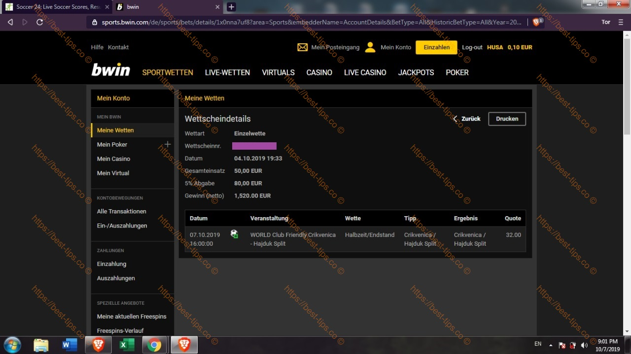 07/OCTOBER/2019 FIXED MATCH BWIN PROOF