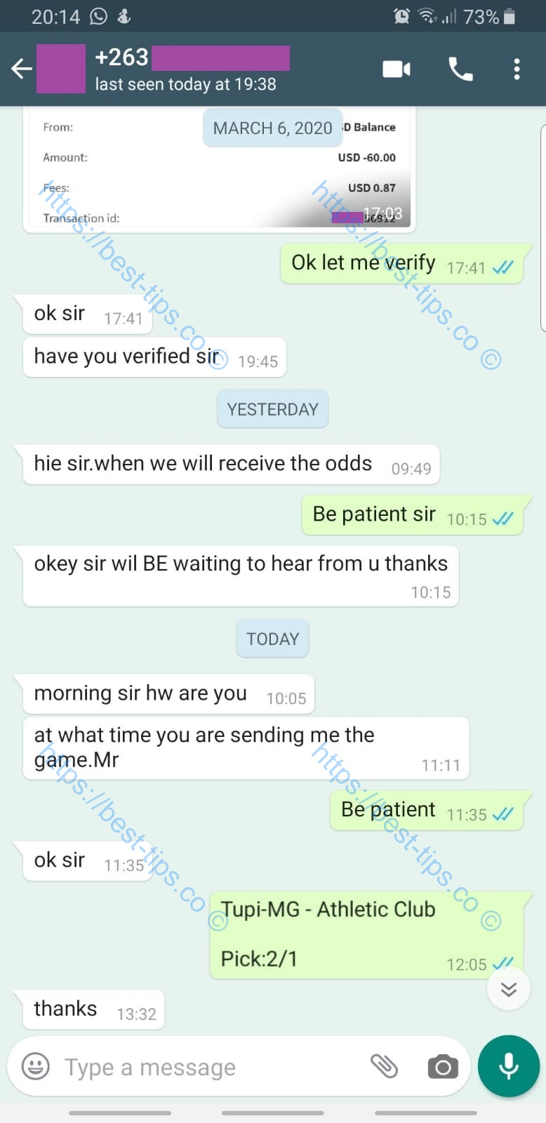 08/MARCH/2020 FIXED MATCH WHATSAPP PROOF