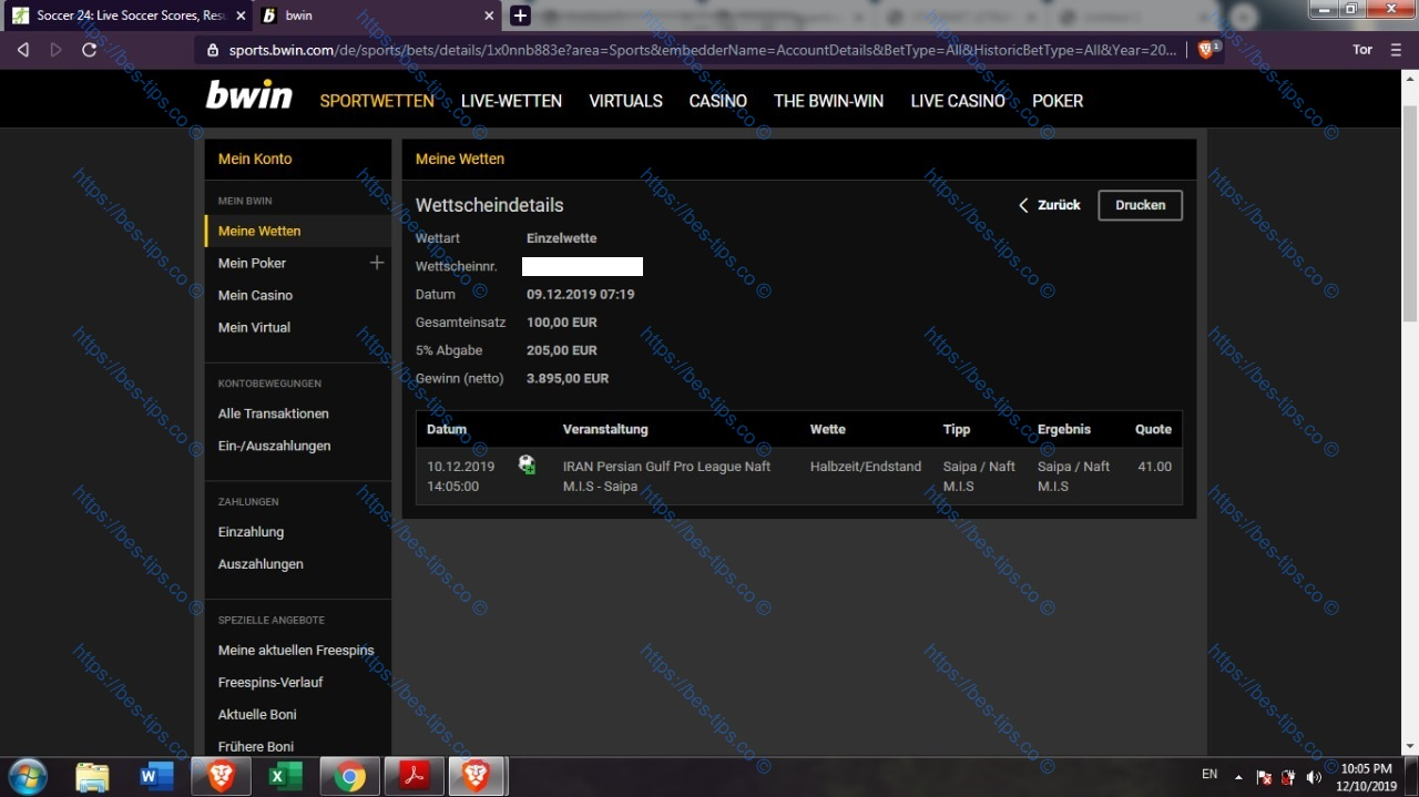 10/DECEMBER/2019 FIXED MATCH BWIN PROOF