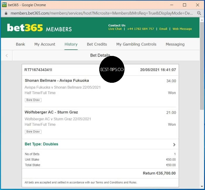 fixed match ht ft bet365 proof for 22 may 2021