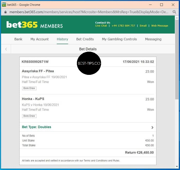 27 june 2021 bet365 fixed ht ft proof