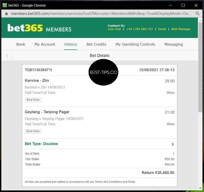 14 august 2021 bet365 fixed ht ft proof